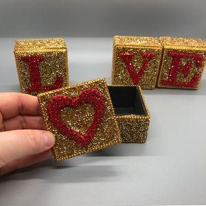 """Pier 1 Four Mini Boxes """"LOVE"""""""